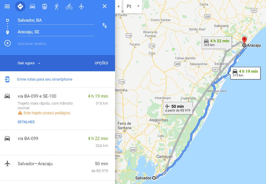 Distância entre Salvador e Aracaju